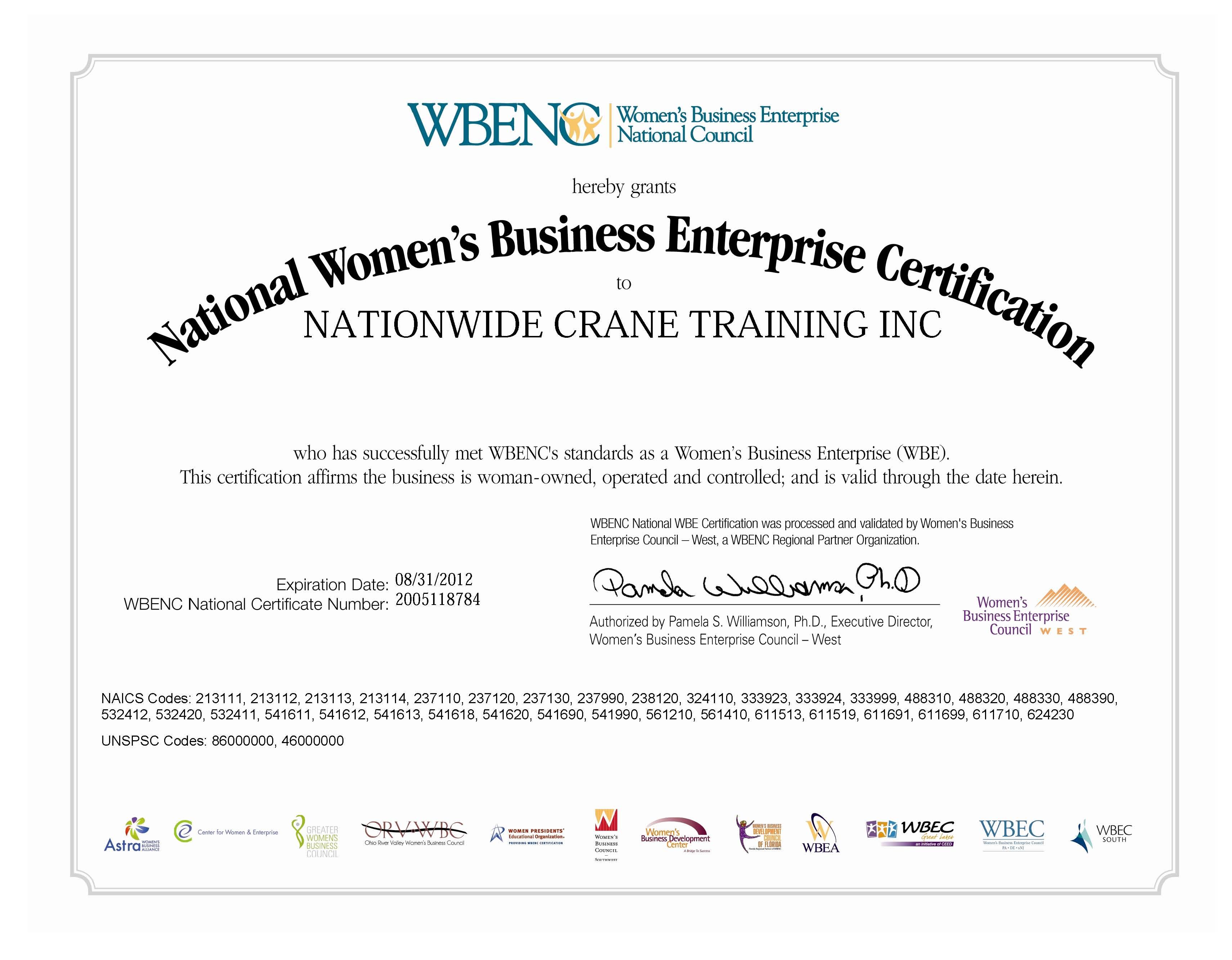 Nationwide Crane Training WBENC Certification