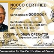 NCCCO certification card