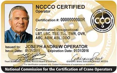 NCCCO certification card