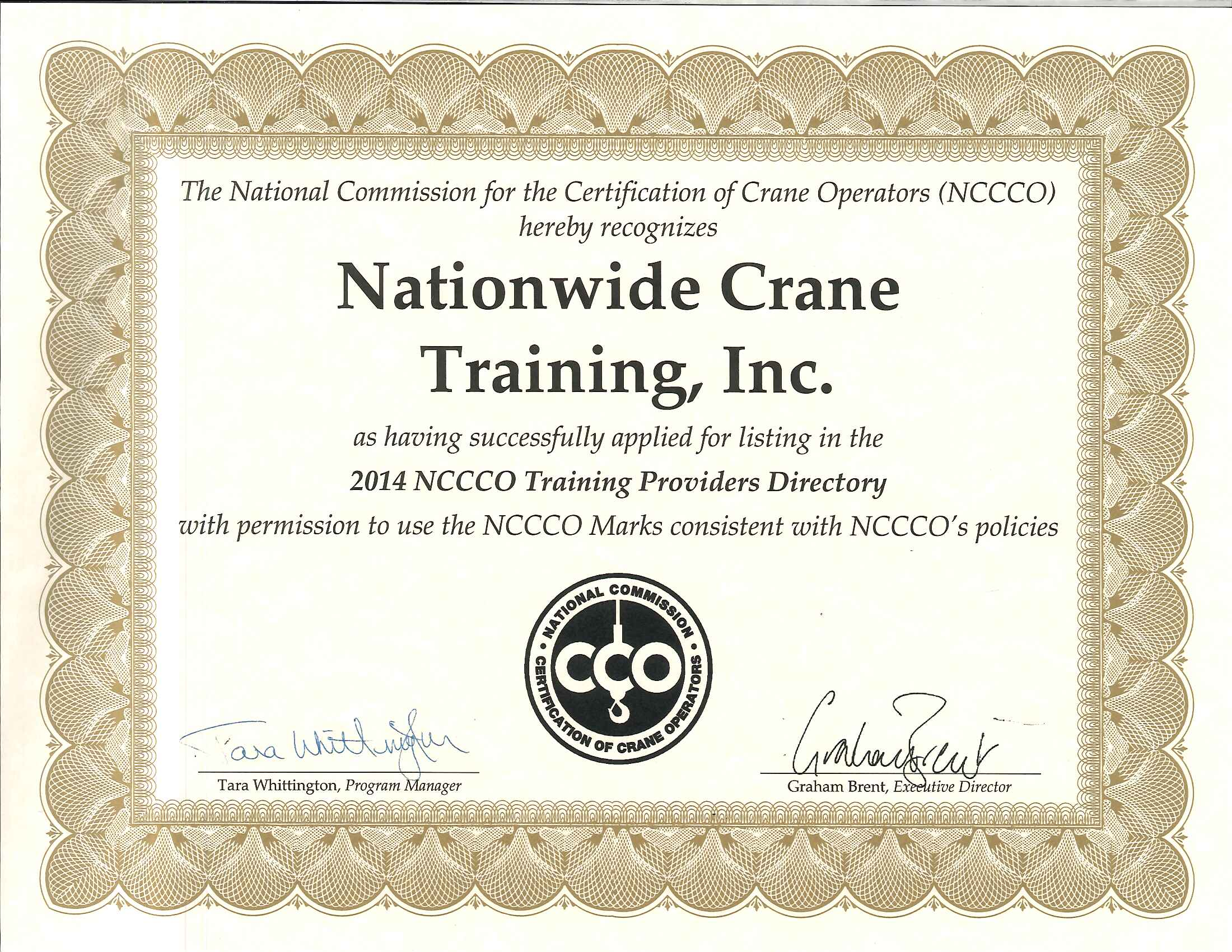 Our Certifications Nationwide Crane Training